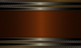 Geometric background with a textured frame of orange shade with a shiny edging and a metal grille. Geometric abstract background with a textured frame of orange stock illustration