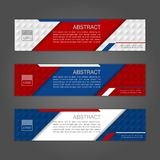Geometric abstract banner background with Russia flag colors. Th. Ree colors concept for Russia 2018. Vector illustration Royalty Free Stock Photos