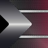 Geometric black red design with metal mesh, rivets and a metallic arrow. Geometric abstract black red design with metal mesh, rivets and a metallic arrow royalty free illustration