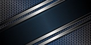 Geometric blue mesh background with corrugated frame. Geometric abstract blue mesh metallic background with rippled frame Stock Photo