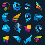 Geometric abstract blue vector shapes. Collection of arrows, nav. Igation pictograms and multimedia signs, for use in web and graphic design Royalty Free Stock Image