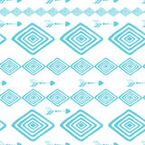 Geometric abstract blue and white seamless hand drawn texture designs for backgrounds. Modern pattern made from rhombus and arrows. Pattern Swatches. Indian Royalty Free Illustration