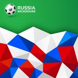 Geometric abstract bright background. Russia 2018 flag colors. Soccer ball icon. Vector illustration.  Royalty Free Stock Images