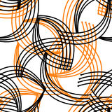 Geometric abstract bright orange black elements seamless pattern Royalty Free Stock Photos