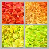 Geometric abstract chaotic triangle pattern background set - mosaic vector graphic designs. From colored triangles royalty free illustration