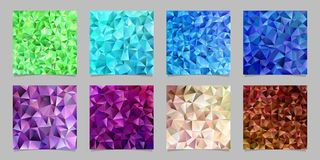 Geometric abstract chaotic triangle pattern background set - mosaic vector graphic design from colored triangles. Geometric abstract chaotic triangle pattern royalty free illustration