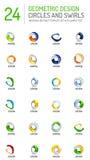 Geometric abstract circles and swirls icon set Stock Image