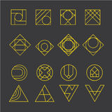 Geometric abstract contour shapes, with different combinations of lines inside the shape. Vector illustration Stock Photo