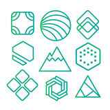 Geometric abstract contour shapes, with different combinations of lines inside the shape. Stock Photos