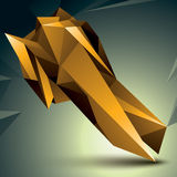 Geometric abstract 3D complicated object, golden asymmetric elem Stock Images