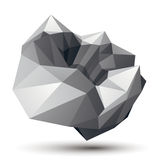 Geometric abstract 3D complicated object, monochrome asymmetric. Three-dimensional element isolated royalty free illustration