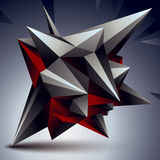 Geometric abstract 3D complicated object, single color asymmetri Royalty Free Stock Images