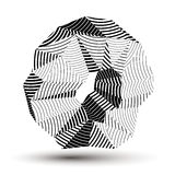 Geometric abstract 3D complicated striped object, monochrome asymmetric. Three-dimensional element isolated stock illustration