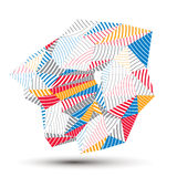 Geometric abstract 3D complicated striped vector object, colorfu. L asymmetric three-dimensional element Stock Photography