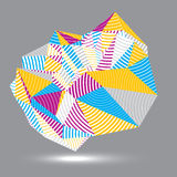 Geometric abstract 3D complicated striped vector object, colorfu Stock Photo