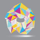 Geometric abstract 3D complicated striped vector object, colorfu. L asymmetric three-dimensional element isolated Stock Photography