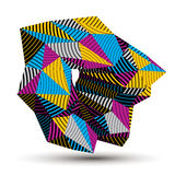 Geometric abstract 3D complicated striped vector object, colorfu Royalty Free Stock Photo