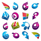 Geometric abstract 3d vector shapes. Collection of arrows, navig. Ation pictograms and multimedia signs, for use in web and graphic design royalty free illustration