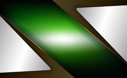 Geometric design of a green hue with a metal mesh grille and white frames. Geometric abstract design of a green hue with a metal mesh grille and white frames Royalty Free Stock Images
