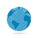 Geometric abstract earth globe sphere concept illustration. Vector graphic template isolated on light white background Stock Photography