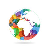 Geometric abstract earth globe sphere concept illustration. Vector graphic template  on light white background Royalty Free Stock Photography