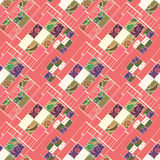 Geometric abstract elements seamless pattern coral colors print Stock Photos