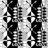 Geometric abstract elements seamless Valentines day pattern Stock Photography