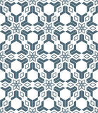 Geometric abstract flowers monochrome seamless pattern Stock Images