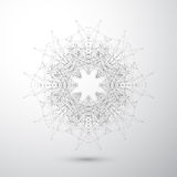 Geometric abstract form with connected lines and dots. Tecnology gray background for your design . Vector illustration Royalty Free Stock Images