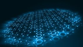 Geometric abstract futuristic blue background with hexagons with light rays. stock footage