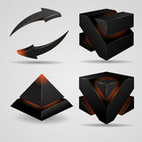 Geometric abstract futuristic gloomy gothic. 3d geometric abstract futuristic Gloomy gothic pyramid and cube rotating arrows vector illustration Royalty Free Stock Photos