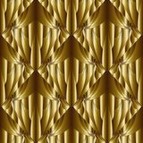 Geometric abstract gold 3d seamless pattern. Textured ornamental. Patterned gold background. Tiled drapery rhombus. Floral vintage ornaments. Beautiful modern Royalty Free Stock Photo