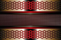 Geometric golden color background with a frame of metal mesh grating with edging. Geometric abstract golden color background with a frame of metal mesh grating royalty free illustration