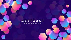 Geometric abstract hexagon background with blue, purple, pink and orange. Eps10 vector background.  royalty free illustration
