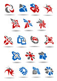 Geometric abstract icons and emblems for business Stock Photos
