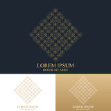 Geometric abstract logo with connected line and dots. Graphic composition design. Royalty Free Stock Photo