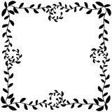 Olive Leafs Silhouette Border Frame. Geometric abstract monochrome olive leafs silhouette border frame in black color Stock Photo