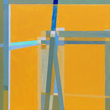 Geometric abstract painting. A painting, geometric abstraction, yellow and blue predominating Royalty Free Stock Images