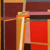 Geometric abstract painting. A painting, geometric abstraction, red and brown predominating Stock Images