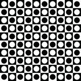 Geometric abstract pattern with black and white squares and circles. Geometric background vector illustration