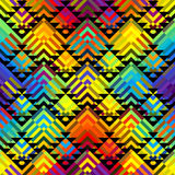 Geometric abstract pattern. Seamless background pattern. Colorful geometric abstract pattern on black background royalty free illustration