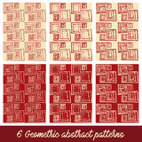 6 Geometric abstract patterns. 6 Geometric abstract  patterns Royalty Free Stock Photography
