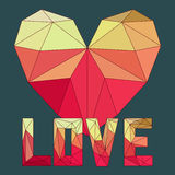 Geometric abstract polygonal heart and love word  on dark cover for use in design for valentines day or wedding greeting c Royalty Free Stock Photos