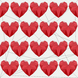 Geometric abstract polygonal red hearts seamless pattern background for use in design for valentines day or wedding vector illustration