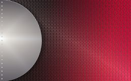 Geometric red mesh background with a round frame of light metallic hue. Geometric abstract red mesh background with round frame of light metallic hue with Stock Photography