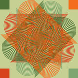 Geometric abstract retro pattern vector colorful star looking design created from spiral lines and decorated with squares orange g. Geometric abstract vintage stock illustration