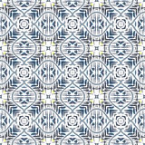 Geometric abstract seamless pattern. Background with watercolor paint brush strokes and stain. Kaleidoscope. Stock Image