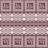 Geometric abstract seamless pattern on brown. Background Stock Photos