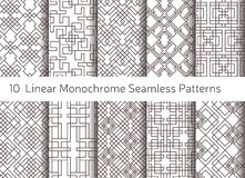 Geometric abstract seamless pattern. Linear motif background. Monochrome decoration design Stock Images