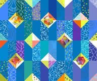 Geometric abstract seamless pattern. Patchwork motif background. Colorful shapes of mosaic ornament stock illustration